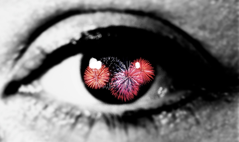 eye full of fireworks