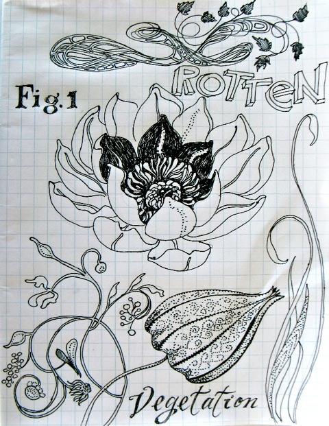 sketchbook page : rotten vegetation