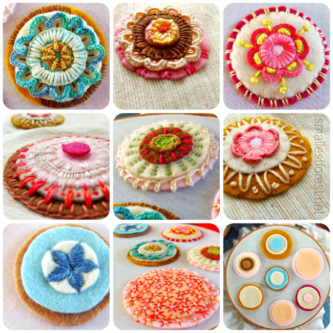 colorful embroidered felt rondels that look like cookies. or flowers. or doilies.