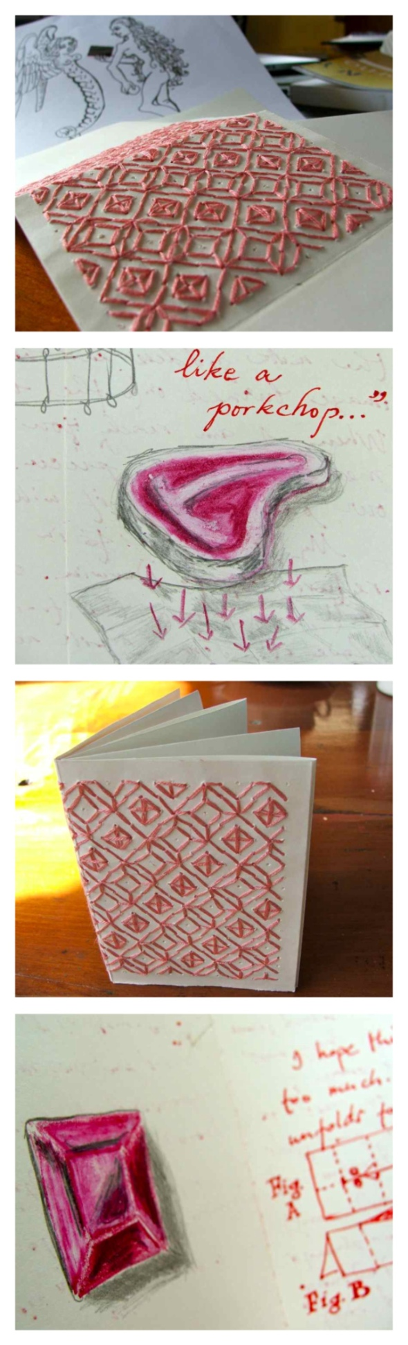 embroidery on paper, a letter for the artist Agnes Arellano