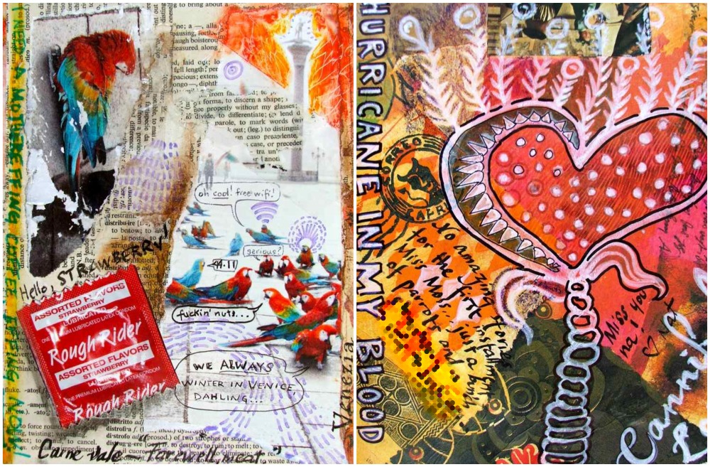 collage and drawing on a postcard for the artist Jason Moss