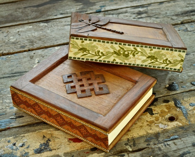 wooden journals: mandala and dragonfly