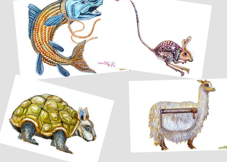 animal postcards collage