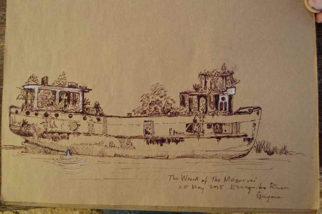 Wreck of the Mazaruni sketch